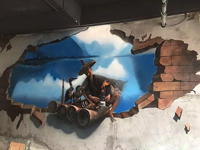 老渔翁3d墙绘壁画立体感超强