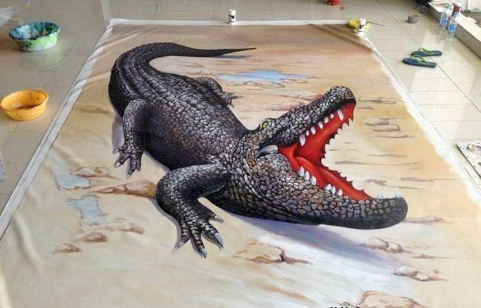 南京3d立体画鳄鱼3d地画展