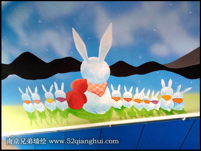 南京文化墙彩绘小学几米插画彩绘